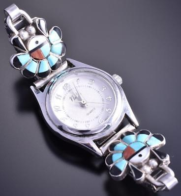 Vintage Silver Multistone Inlay Zuni Sunface Watch 8A08O