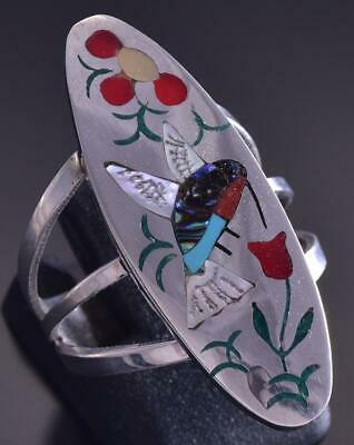Size 7-1/4 Silver Multistone Zuni Inlay Hummingbird Ring Samuel Guardian ZG17D