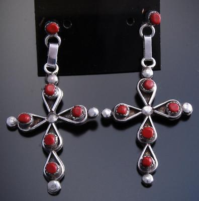 Silver Mediterranean Coral Row Zuni Cross Earrings by Reynard Lastian 7J21U
