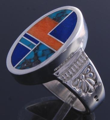 Size 7-1/4 Silver Turquoise Lapis Navajo Inlay Round Ring by Ray Tracey 7K16P