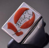Size 12-1/2 Silver Mother of Pearl & Coral Shriner Men's Ring Bobby Concho ZA08M