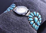 Vintage Silver Sleeping Beauty Turquoise Navajo Cluster Watch by JW 8A08G