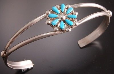 Sleeping Beauty Turquoise Flower Bracelet by David & Sarita Leekity 8I27F