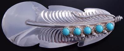 Silver Turquoise Handstamped Navajo Barrette by Yazzie 7H12O