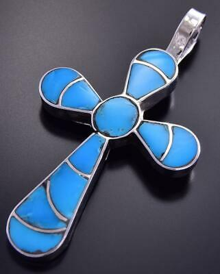 Zuni Inlay Turquoise Cross Pendant by Lynelle Johnson 9J24L