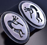 Vintage All Silver Dancing Kokopelli Navajo Earrings by GN 9A31N