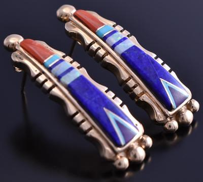 14k Gold & Lapis Multistone Navajo Inlay Earrings 8D21P