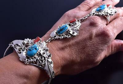 Sleeping Beauty Turquoise & Coral Slave Bracelet & Ring by Harry Yazzie 9K24A