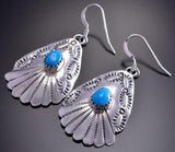 Silver & Turquoise Navajo Stamp Squash Concho Earrings by Sharon McCarthy 9B28W