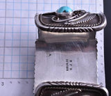 Vintage Silver Turquoise Side Rows Men's Wide Watch Bracelet by HJB 8A22B