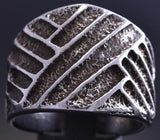 Size 10-1/2 All Silver Navajo Rug Pattern Tufa cast Mens Ring by Merle House 8J26L