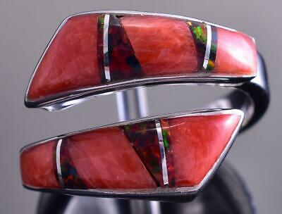 Adjustable Silver & Spiny Oyster Shell & Opal Navajo Inlay Wrap Ring by JB 9C29F