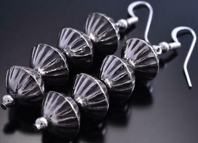All Silver Four Stamp Navajo Pearl Earrings by June Begay 8H10U