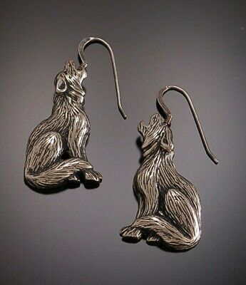 Collectable Silver Howling WOLF Dangle Earrings ER5Z
