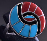 Size 7-1/2 Silver Zuni Inlay Round Hummingbird Ring by Amy Wesley ZG17C