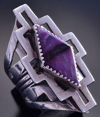 Size 8-1/2 Vintage Silver & Sugilite Open Ended Navajo Ring by Lee Nieto 9F06F