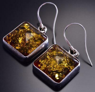 Pre-Owned Silver & Amber earrings 9D04J