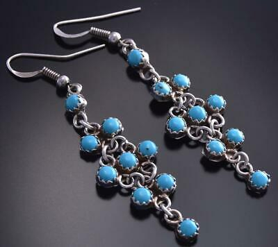 Silver & Turquoise Petty Point Zuni Dangle Earrings by Sylvia Chee 9F26C