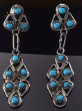 Silver & Turquoise Multistone Zuni Petty Point Dangle Earrings ZG24W
