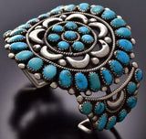 Vintage Silver & Sleeping Beauty Turquoise Navajo Bracelet Stamped UEXX ZE06A