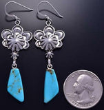 Silver & Turquoise Flower Concho Navajo Earrings by Bobby Platero 9A16B