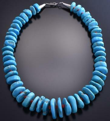 "14"" Sleeping Beauty Turquoise & Coral Navajo Necklace 9A02Y"