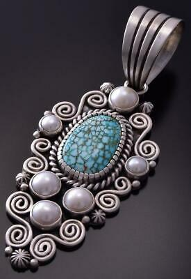 Silver & #8 Spiderweb Turquoise & Fresh Pearl Navajo Pendant Erick Begay ZC19J