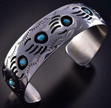 Silver & Turquoise Strong Bear Navajo Bracelet by Pearlene Spencer ZJ13R