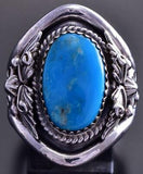 Size 9 Silver & Turquoise Feathers Edge Navajo Ring by Bobby Platero 9E29U
