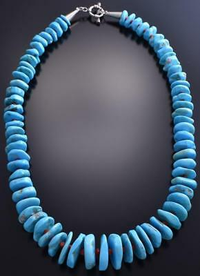 "18"" Sleeping Beauty Turquoise & Coral Navajo Necklace 9A02Z"