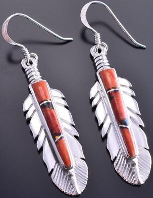 Spiny Oyster Shell Inlay Feather Earrings by Kenneth Bitsie 8I02O