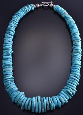 "19-1/2"" Single Strand Sleeping Beauty Turquoise Slender Nugget Necklace 8J31N"