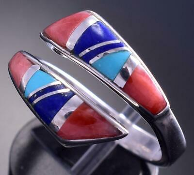 Adjustable Silver & Turquoise Multistone Navajo Inlay Wrap Ring by JB 9C29A