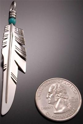 Turquoise Knife Wing Feather Pendant by Ray Tracey - Large PD1E