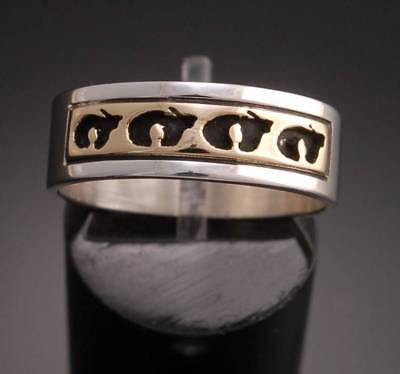 Size 8 - 14K Gold and Silver Bear Band Ring by Peggy Skeets 8d13E-3