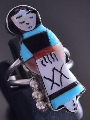 Size 4-3/4 Silver Multistone Zuni Inlay Corn Maiden Ring by Joyce Waseta ZG17G