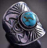 Size 10 Silver & Turquoise Sunrays Navajo Men's Ring by Derrick Gordon 9E13N