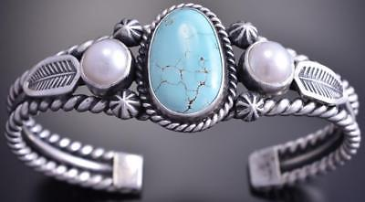 Silver #8 Spiderweb Turquoise Fresh Pearl Feathers Bracelet by Erick Begay 8F25L