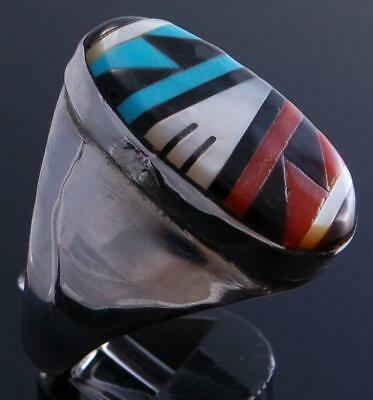 Size 10 Silver Multistone Zuni Round Inlay Men's Ring by Gladys Lamy 9L02a