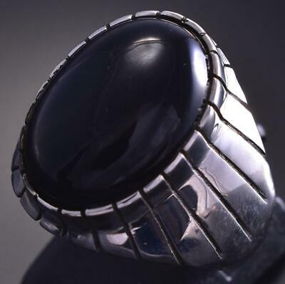Size 10 Silver & Onyx Round Navajo Men's Ring by Ray Jack 9E15D