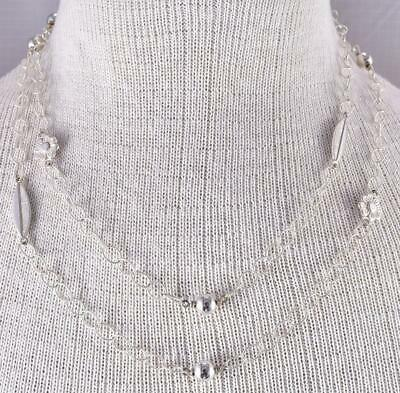 "42"" All Silver Flowers & Soft Feathers & Beads Long Necklace Erick Begay ZL10V"
