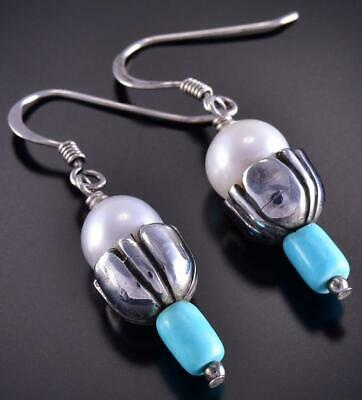 Silver & Turquoise & Fresh Water Pearl Navajo Earrings by Erick Begay ZL10P