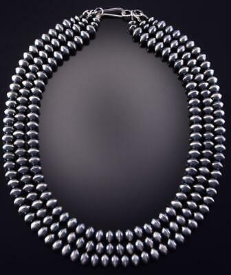 "18"" All Silver 3 Strand Navajo Pearls Multistrand Necklace by Preston Hale ZJ17P"