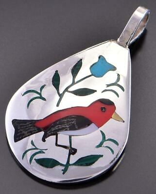 Silver & Coral Multistone Zuni Inlay Robin Pendant by Samuel Guardian 1C18J