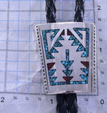 Silver & Turquoise & Coral Navajo Chip Inlay Rug Bolo Tie by Joleen Yazzie ZK25P