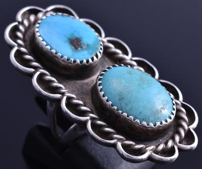 Vintage Size 4-3/4 Silver Double Turquoise Navajo Ring 8B10T