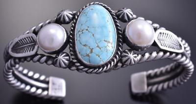 Silver #8 Spiderweb Turquoise Fresh Pearl Feathers Bracelet by Erick Begay 8F25G