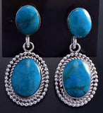 Silver & Turquoise Double Stone Navajo Dangle Earrings by Verley Betone 9J04Y