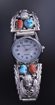 Silver Turquoise and Coral Buffalo Watch by RB - 8d01K