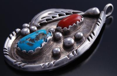 Vintage Silver Sleeping Beauty Turquoise Coral Tear Drop Pendant by Cora 7K07P